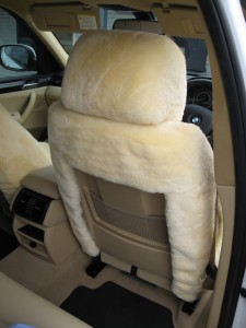 Sheepskin seat and headrest covers