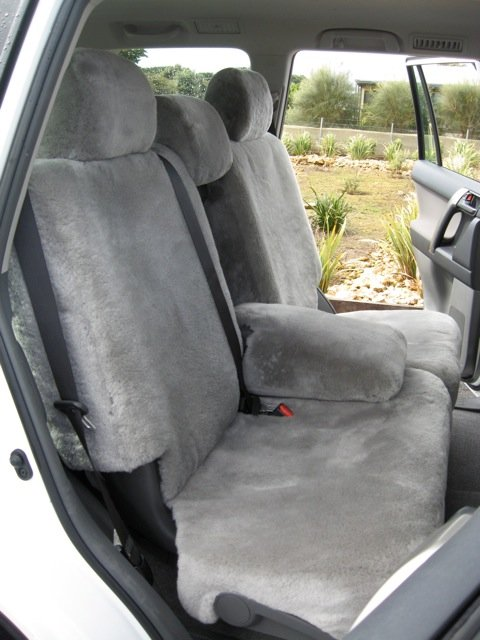Stone front lambswool seat covers