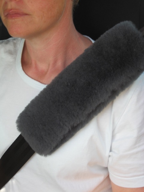 Charcoal sheepskin seat belt cover