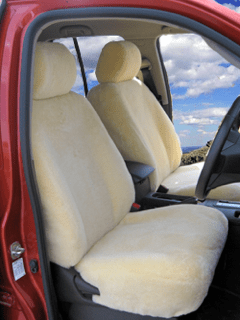 Cream sheepskin car seat covers