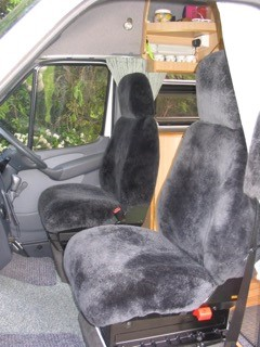 Charcoal sheepskin car seat covers